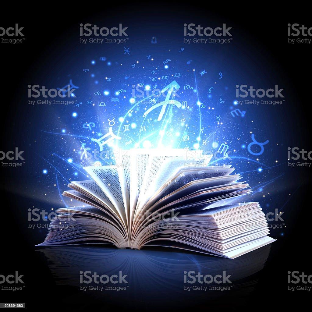 magic book with zodiac symbols vector art illustration