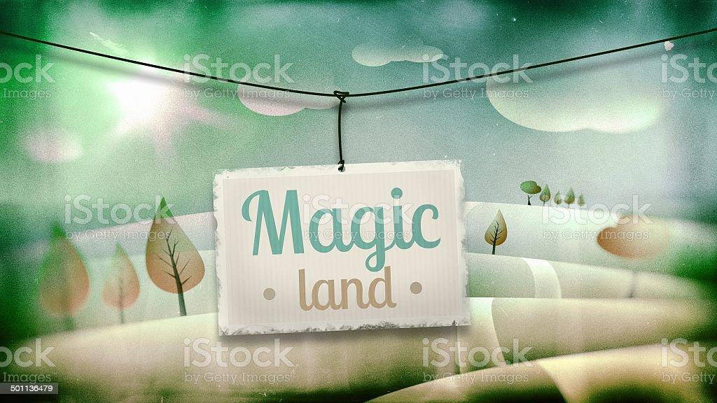 Magic land, vintage children illustration royalty-free stock vector art