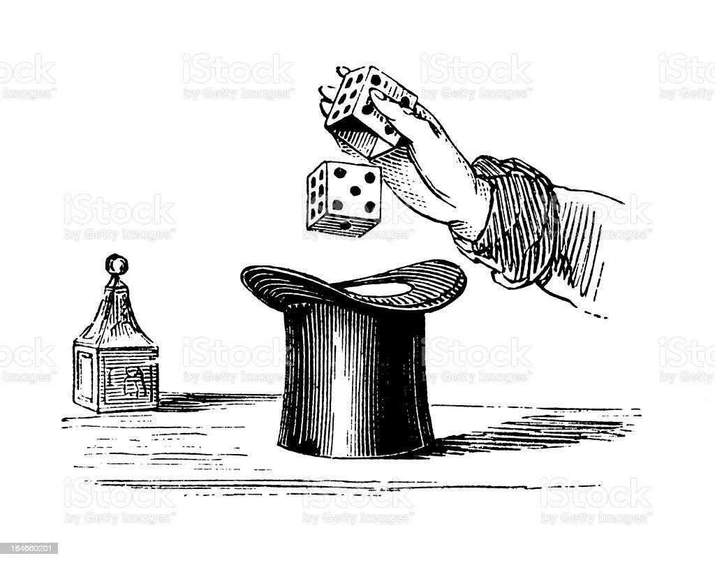 Magic trick   Antique Illustration vector art illustration
