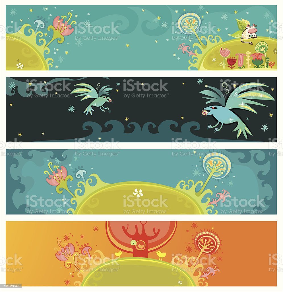 Magical nature banners royalty-free stock vector art