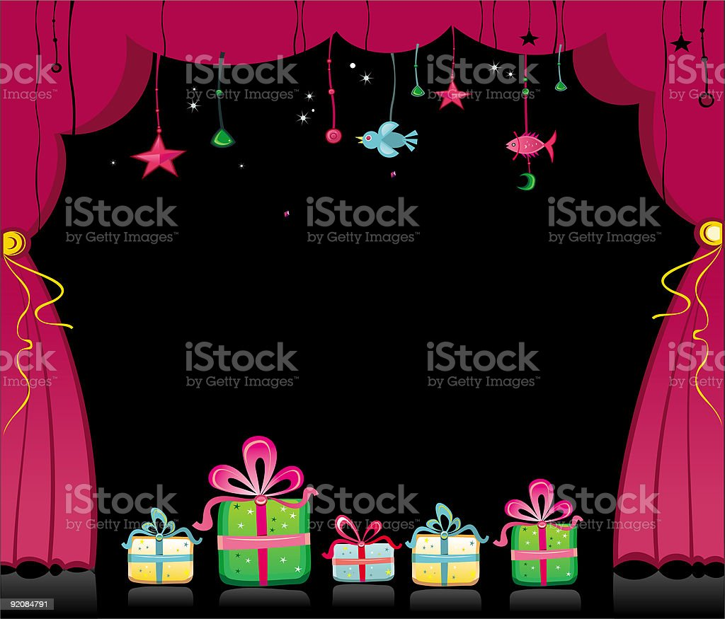 Magical  Stage Draped With Curtains and presents royalty-free stock vector art