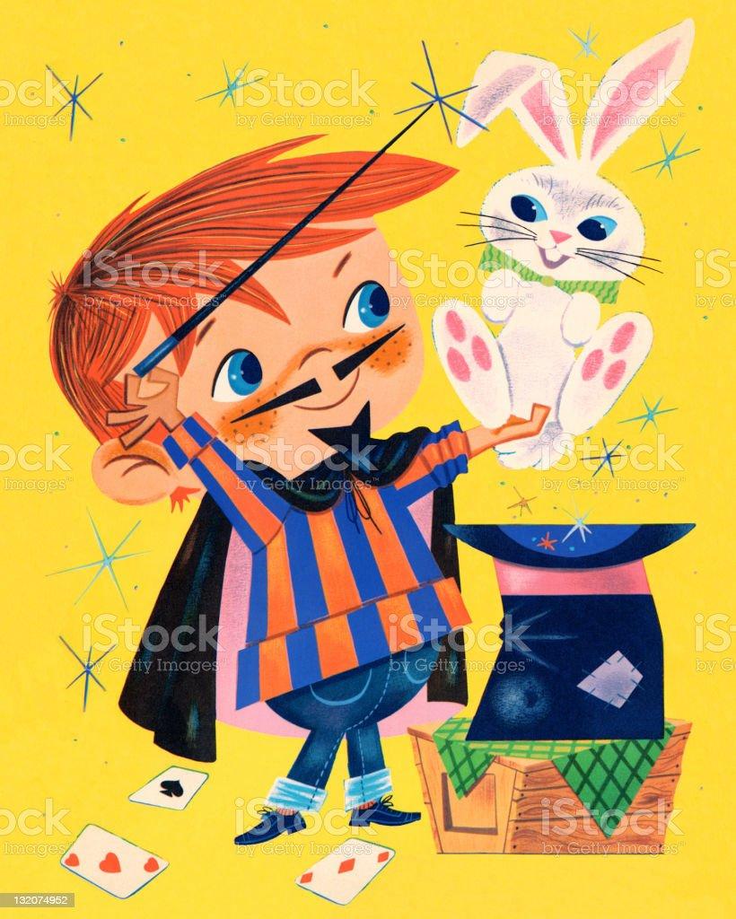 Magician and Rabbit vector art illustration