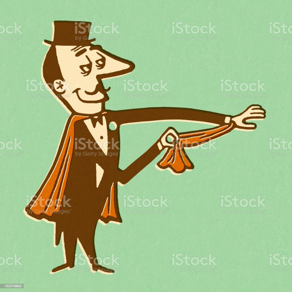 Magician Pulling Scarf From Sleeve vector art illustration