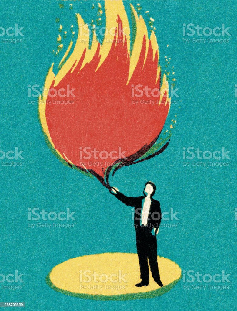 Magician with Flame vector art illustration