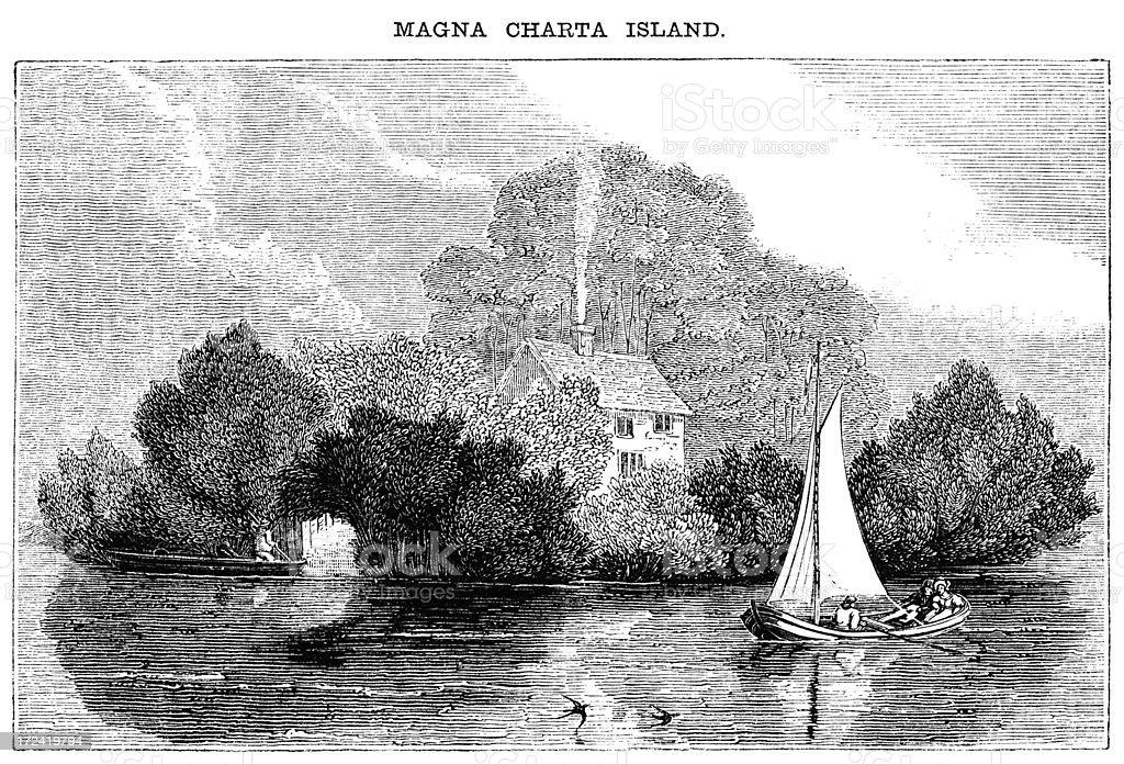 Magna Carta Island, Runnymede (Victorian woodcut) royalty-free stock vector art