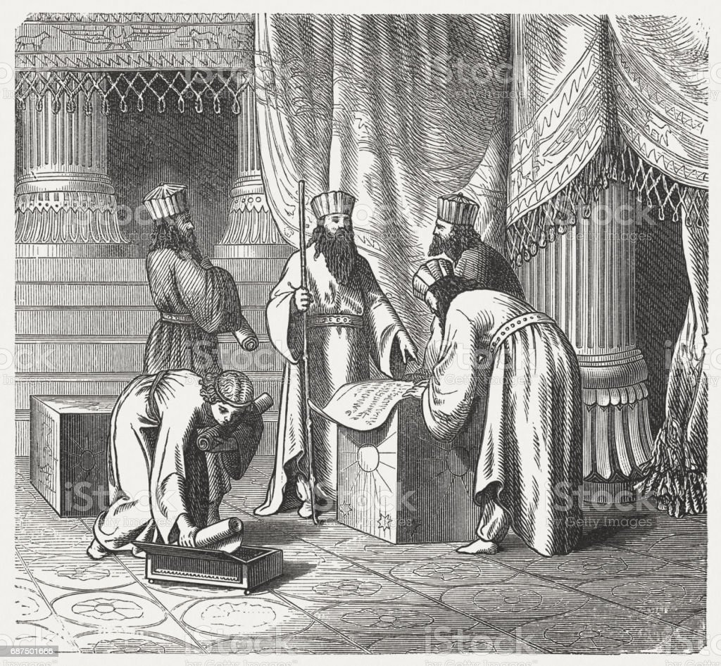 Magus, Persian priests of Antiquity, wood engraving, published in 1880 vector art illustration