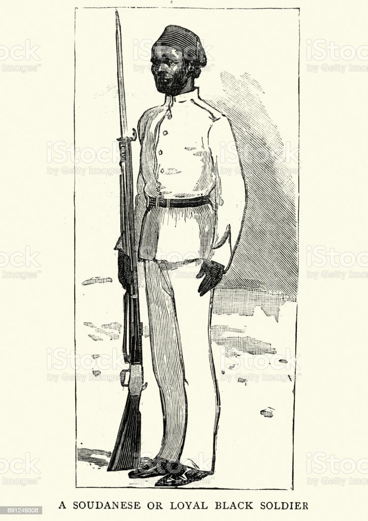 Mahdist War - Loyal sudanese soldier vector art illustration