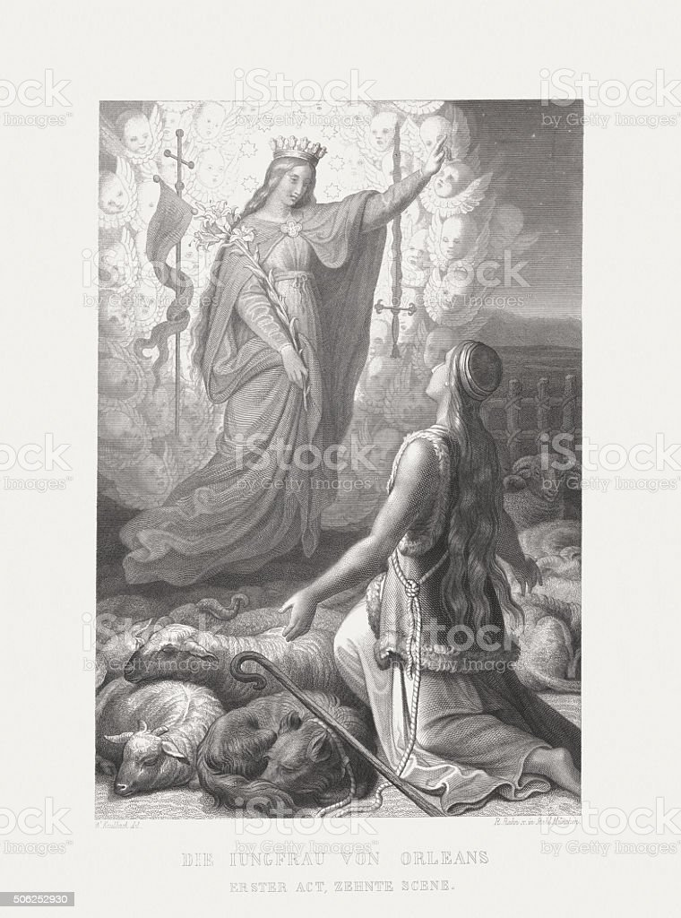 Maid of Orleans by Friedrich Schiller, steel engraving, published 1869 vector art illustration