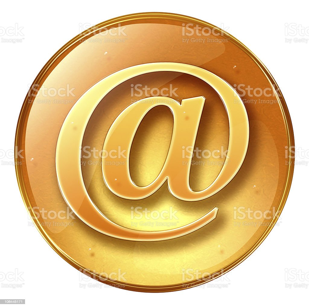 mail icon yellow, isolated on white background royalty-free stock vector art