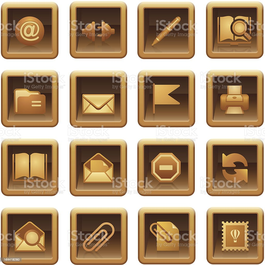 Mail icons. Brown series. royalty-free stock vector art