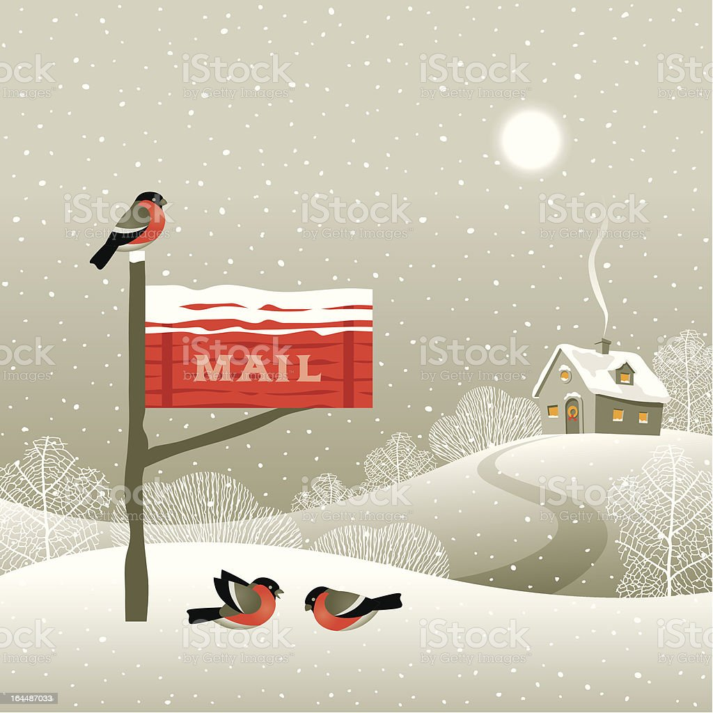 Mailbox on the forest edge vector art illustration