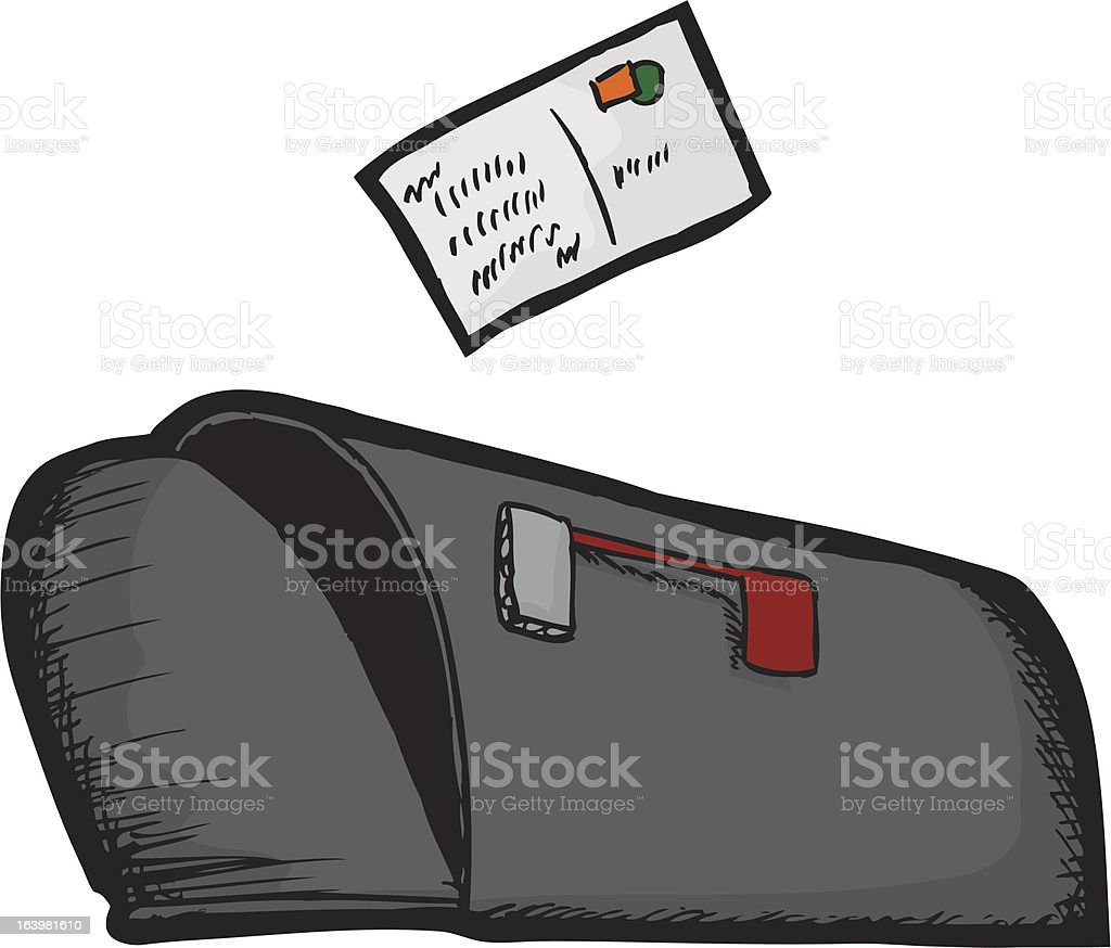 Mailbox with Postcard royalty-free stock vector art