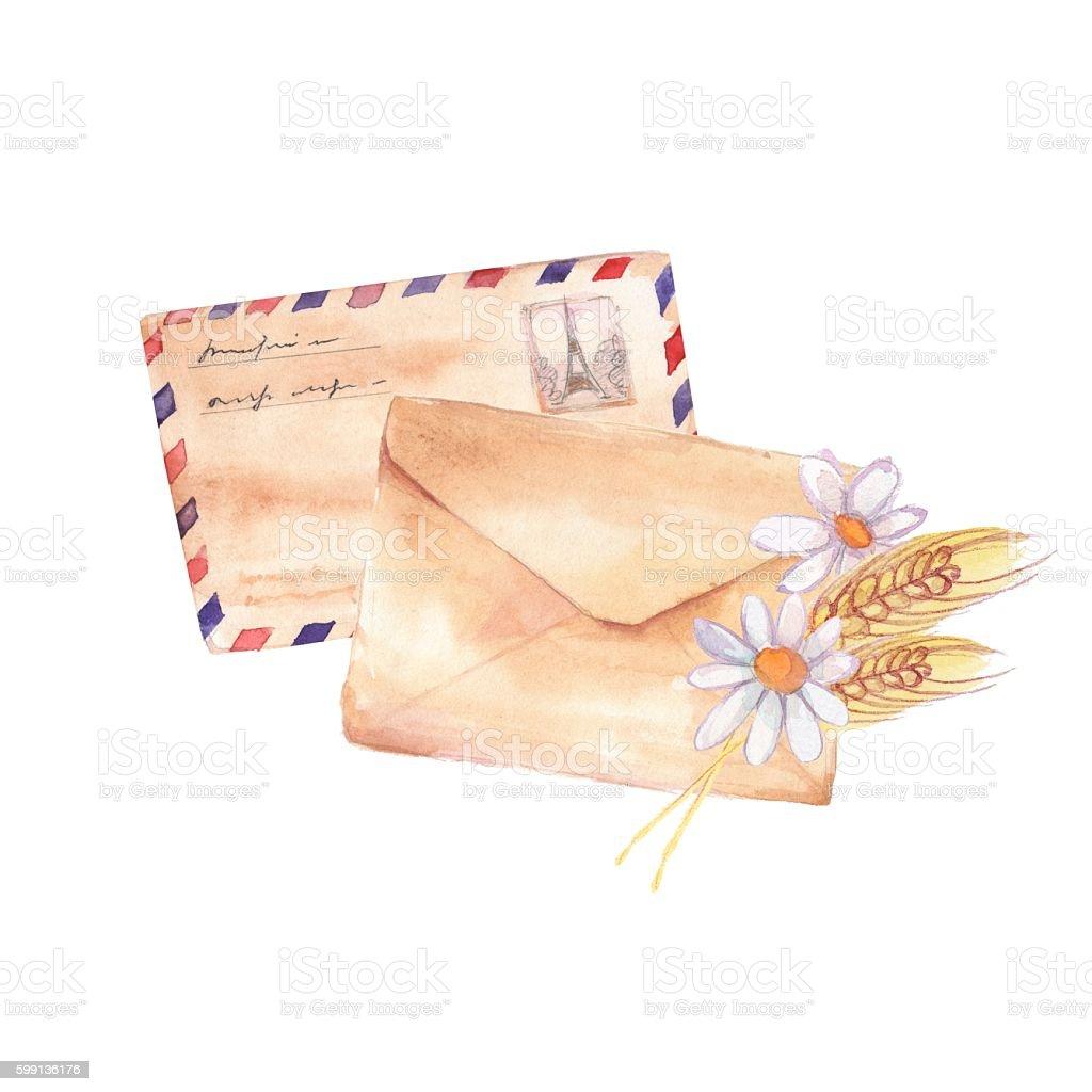 Mailing envelope. Watercolor painting. Element for design 3 vector art illustration