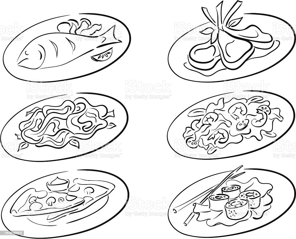 main courses royalty-free stock vector art
