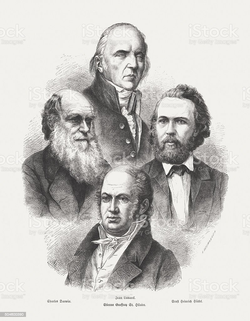 Main proponents of Darwinism, wood engraving, published in 1873 vector art illustration