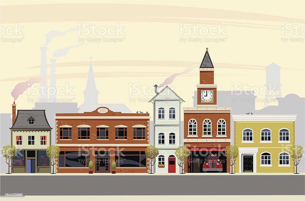 Main Street USA vector art illustration