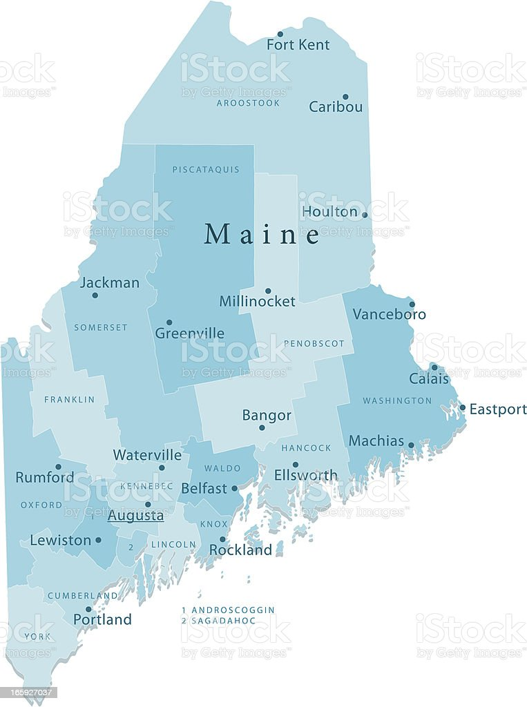Maine Vector Map Regions Isolated vector art illustration