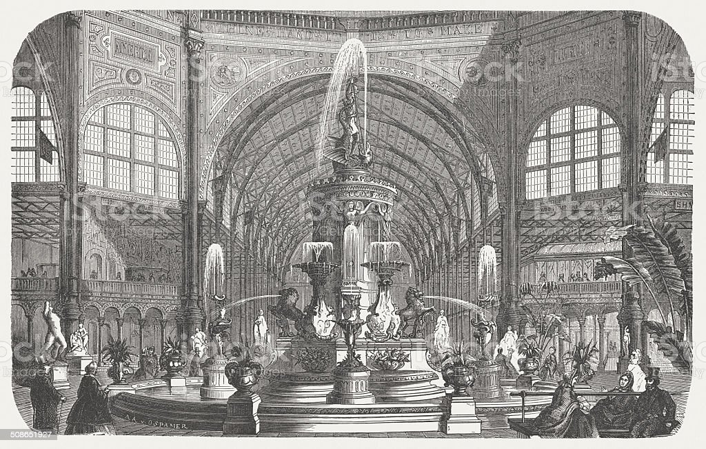 Majolica fountain, Crystal Palace, World exhibition, London, 1862, published 1877 vector art illustration