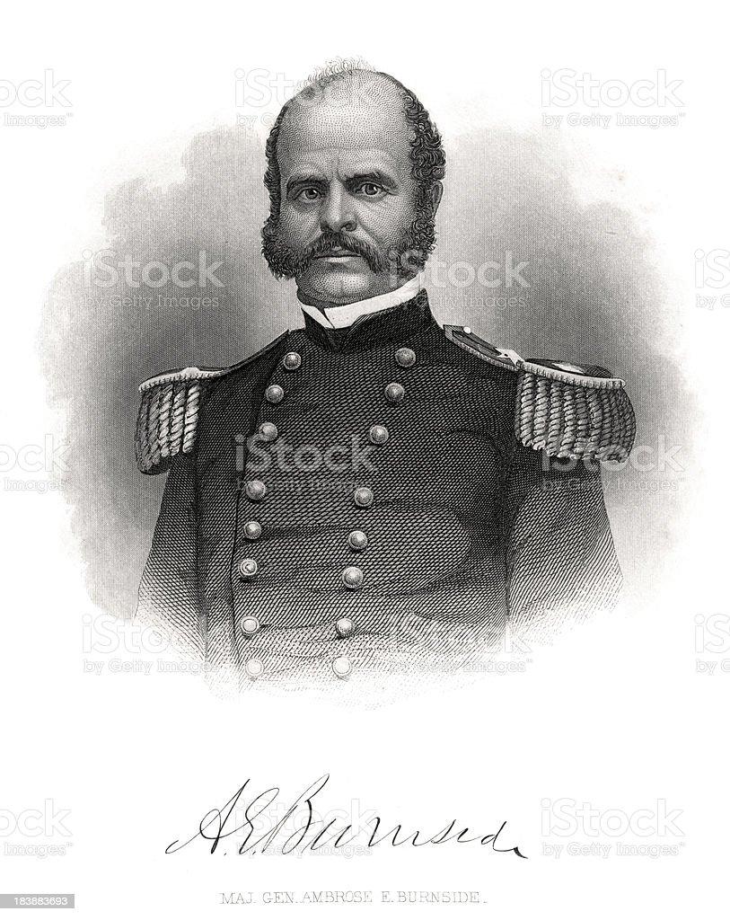Major General Ambrose Burnside vector art illustration