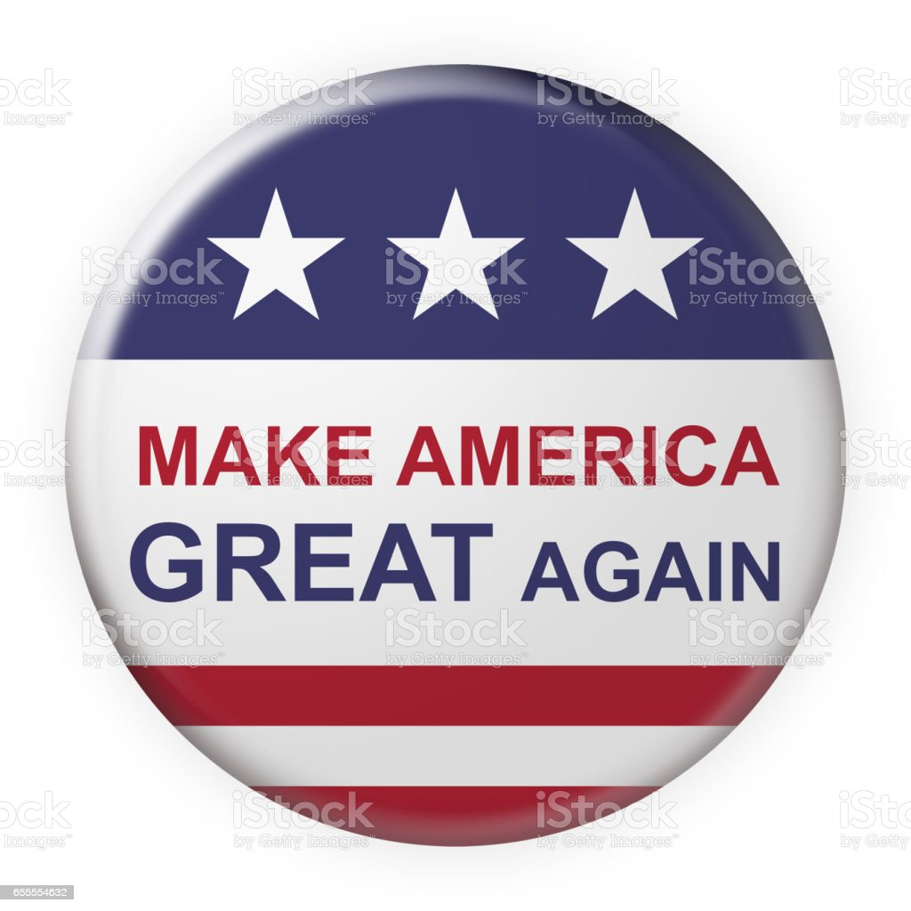 Make America Great Again Button With US Flag, 3d illustration vector art illustration