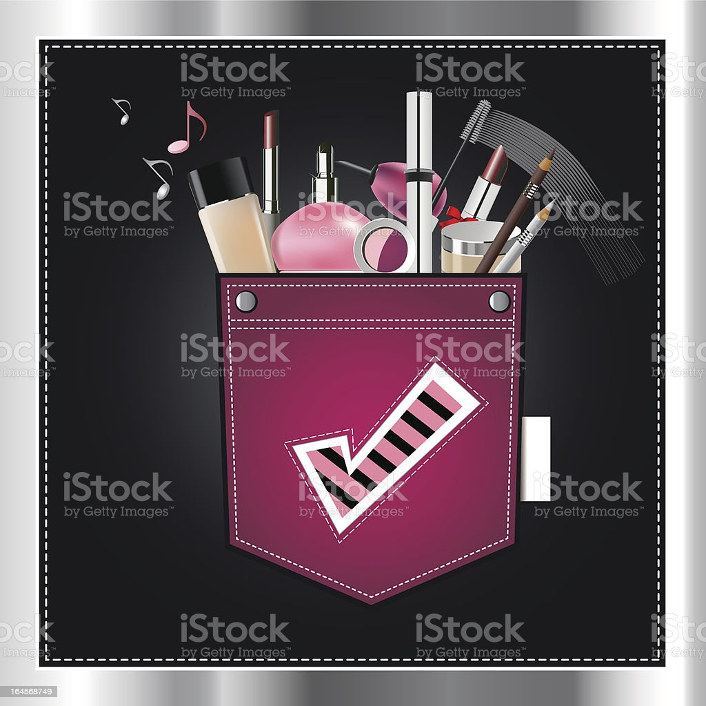 makeup in the pocket royalty-free stock vector art