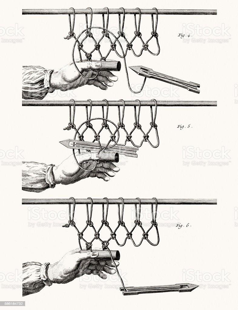 Making fishnet, Diderot Encyclopedia vector art illustration
