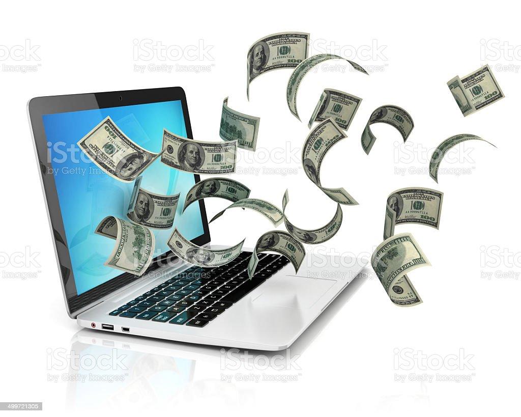 making money online - dollars and laptop vector art illustration