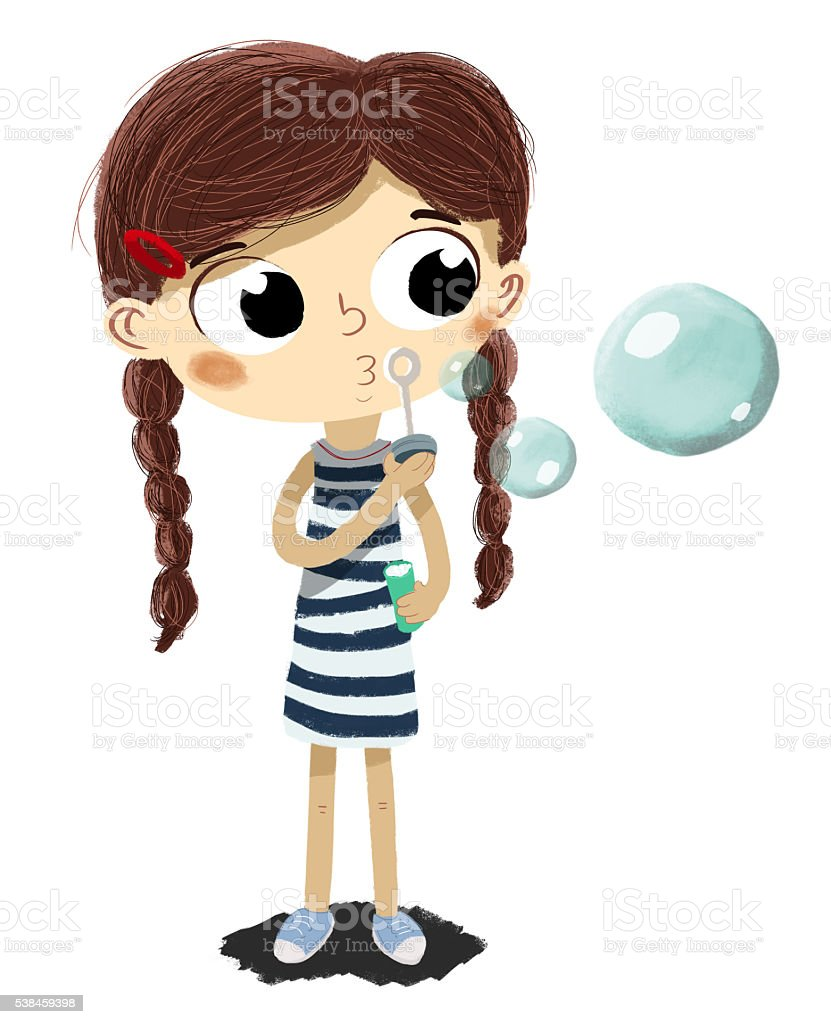 Making soap bubbles . vector art illustration