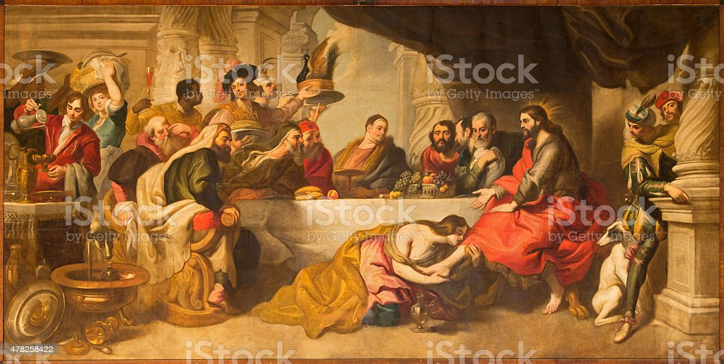 Malaga -  The supper of Jesus painting in Cathedral vector art illustration