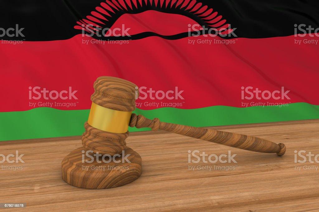 Malawian Law Concept - Flag of Malawi Behind Judge's Gavel 3D Illustration vector art illustration