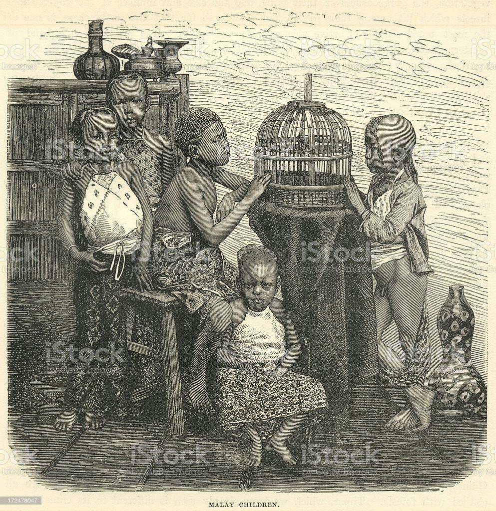 Malay children in 19th century Malaya antique print royalty-free stock vector art