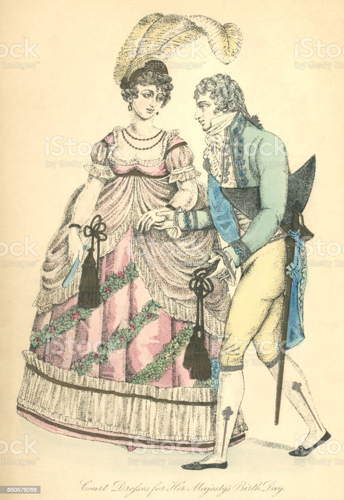 Male and female court dress, 1807 vector art illustration