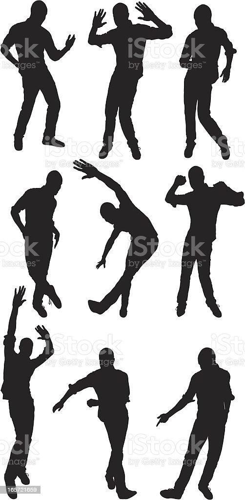 Male dancers in action vector art illustration