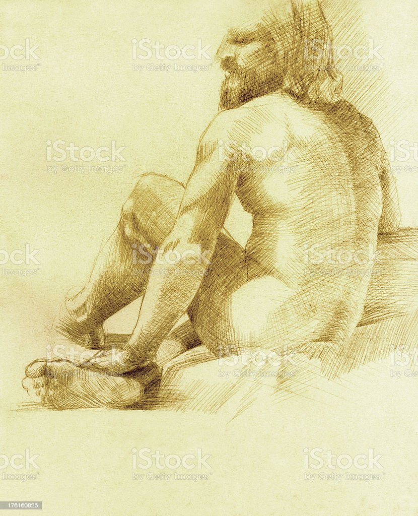 Male Figure Drawing in Silverpoint royalty-free stock vector art