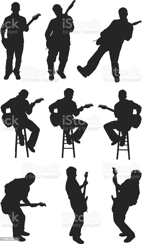 Male guitarist performing and rocking out vector art illustration