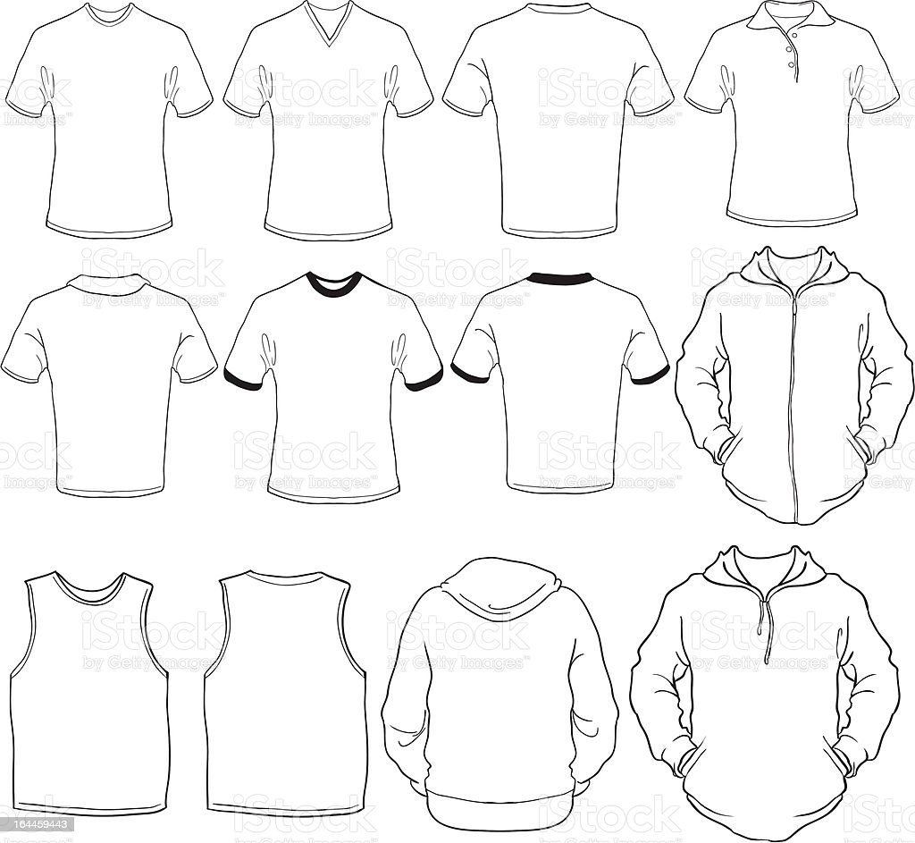 male shirts template royalty-free stock vector art