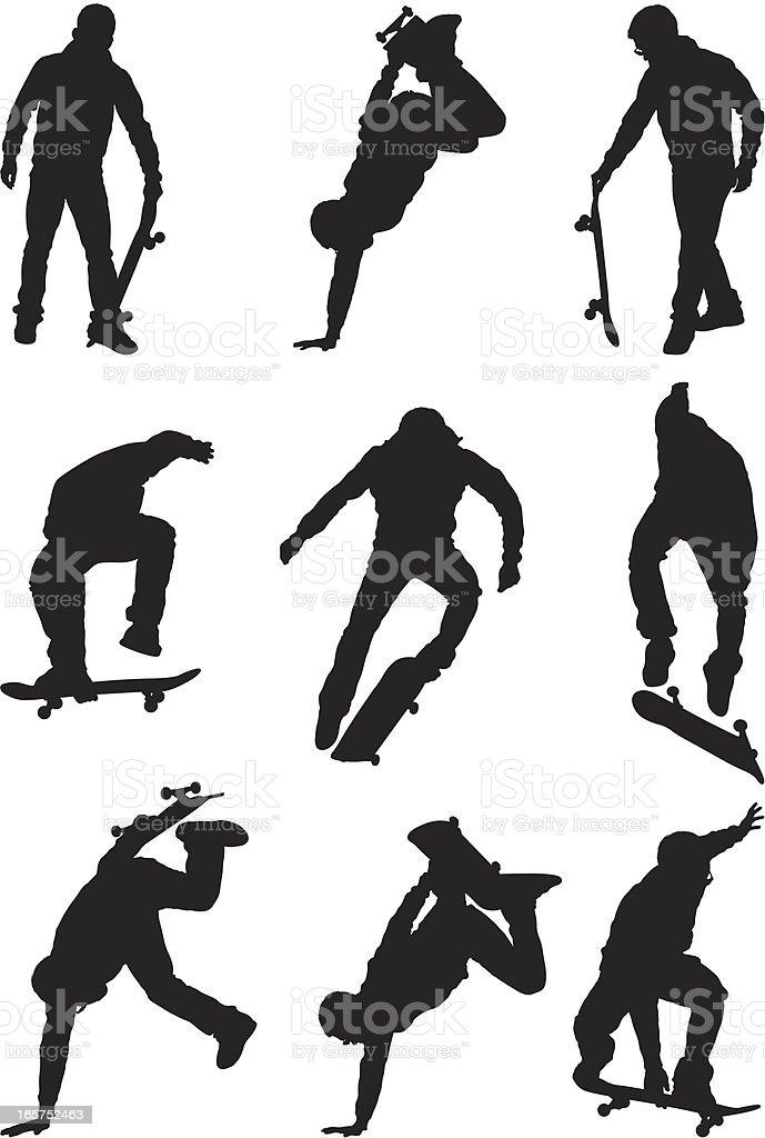 Male skateboarders doing stunts vector art illustration
