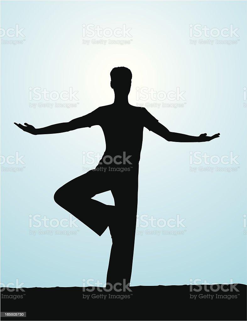 Male Yoga - Tree Pose vector art illustration