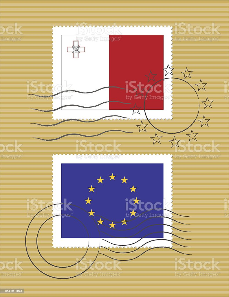 Malta and European Union - stamps with flag vector art illustration