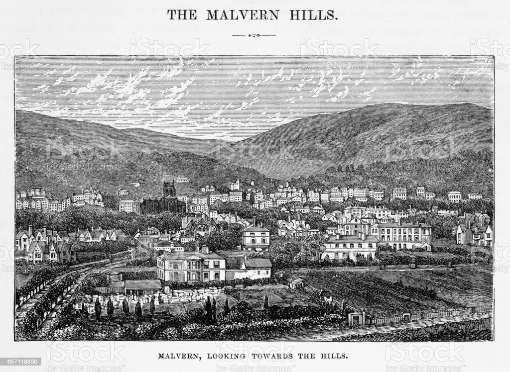 Malvern in Worcestershire, England Victorian Engraving, 1840 vector art illustration