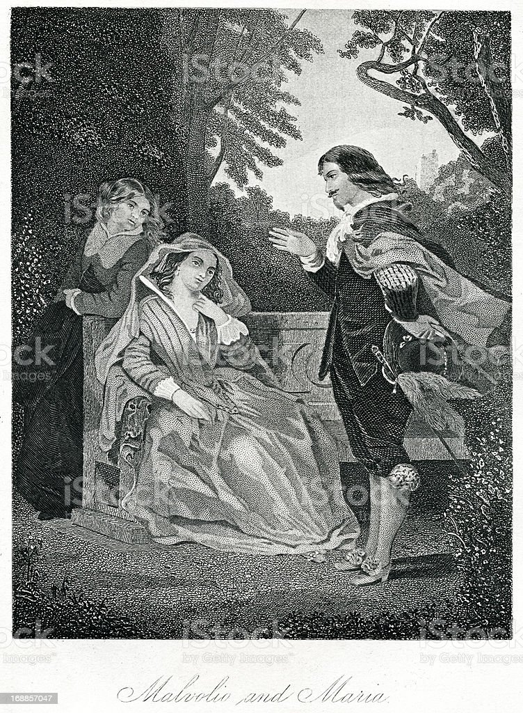 Malvolio And Maria From Shakespeare's Twelfth Night royalty-free stock vector art