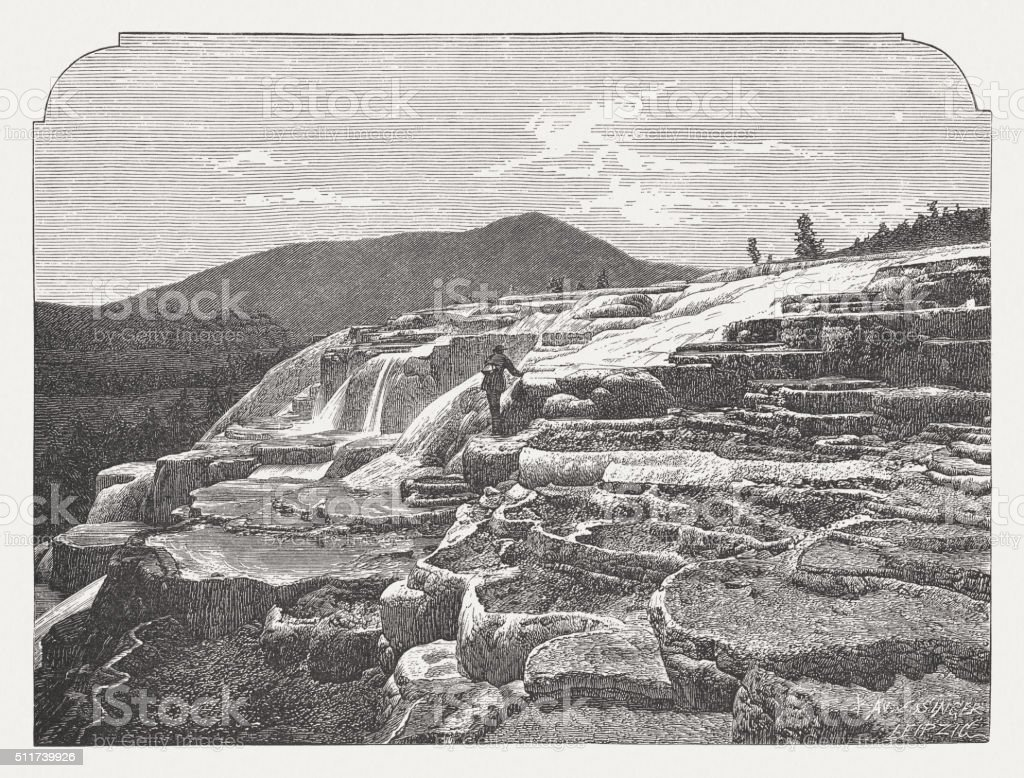 Mammoth Hot Springs, Yellowstone National Park, wood engraving, published 1880 vector art illustration