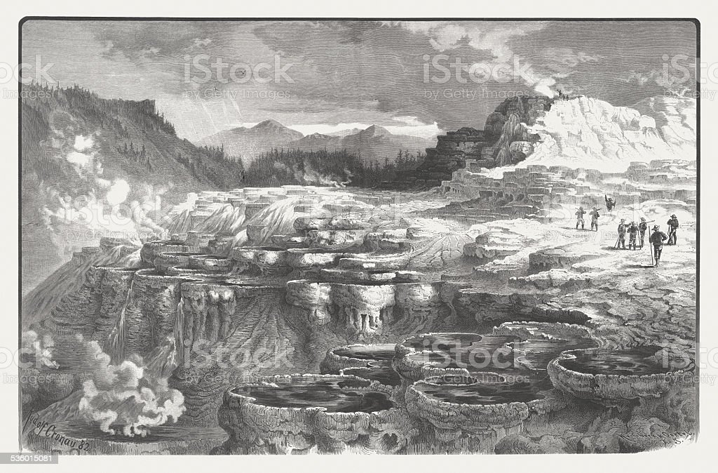 Mammoth Hot Springs, Yellowstone National Park, wood engraving, published 1883 vector art illustration