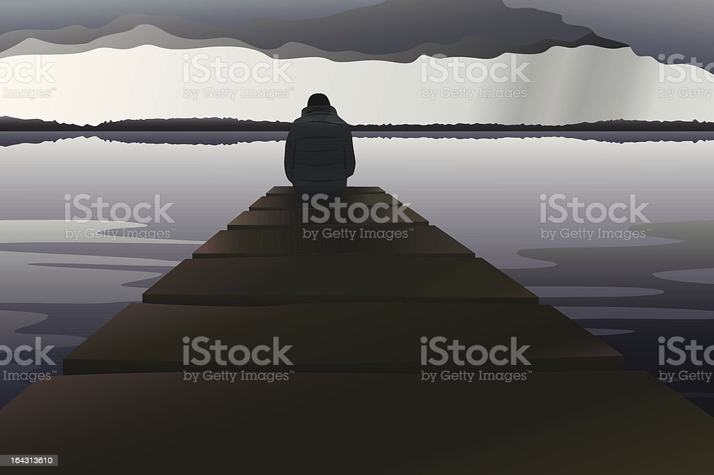 Man alone at the lake vector art illustration