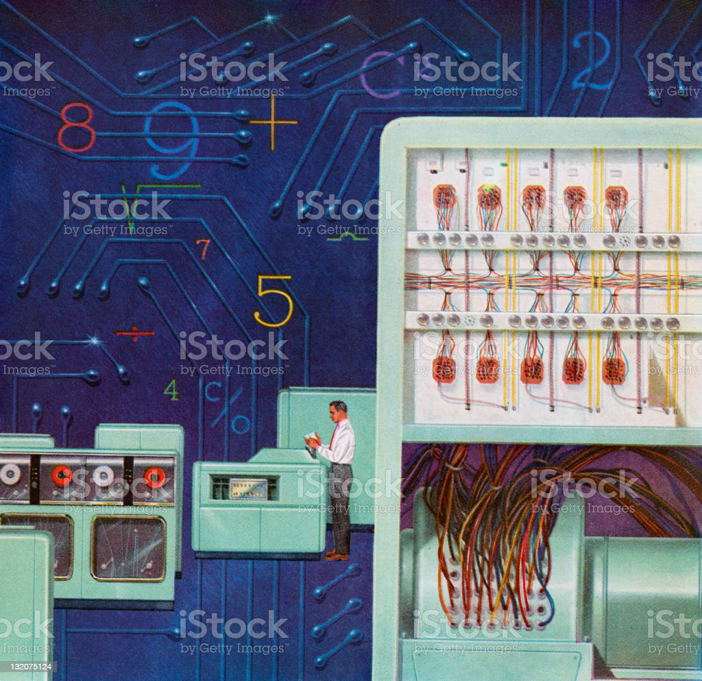 Man Amongst Old Computers royalty-free stock vector art