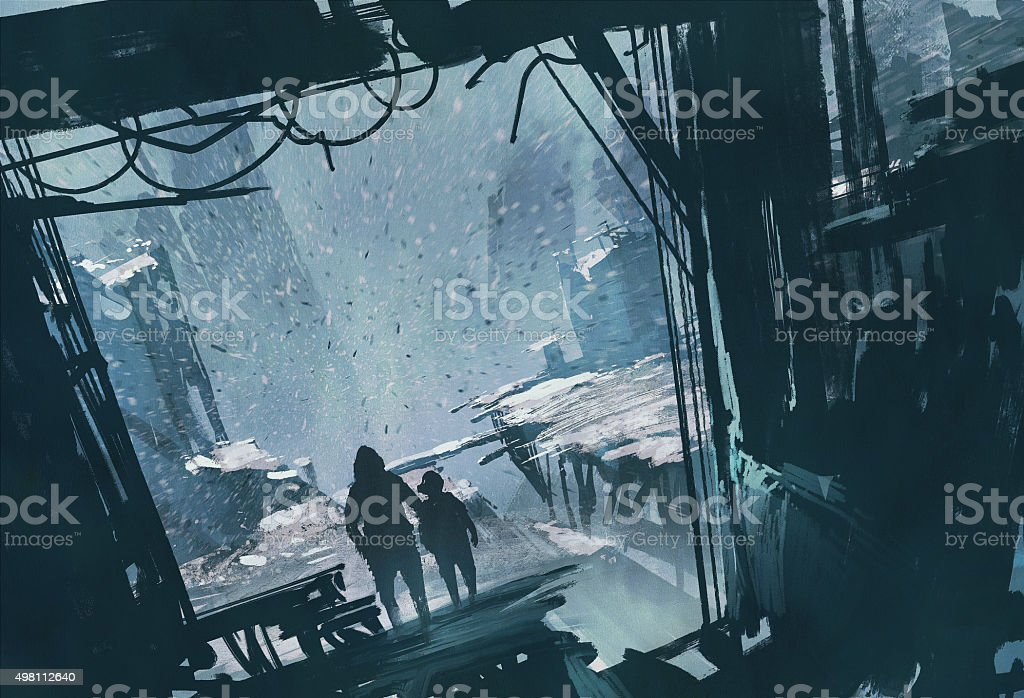 man and boy looking at ruined city vector art illustration