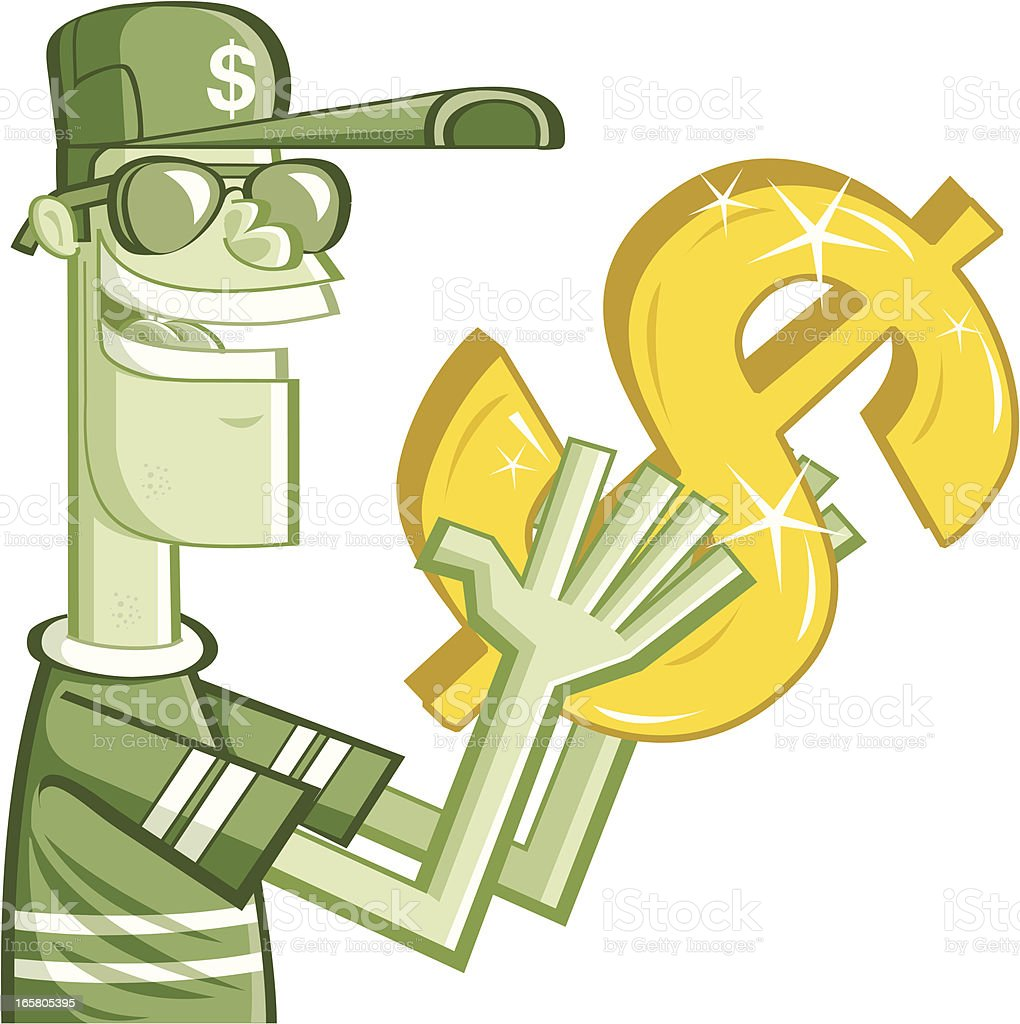 man and dollar vector art illustration