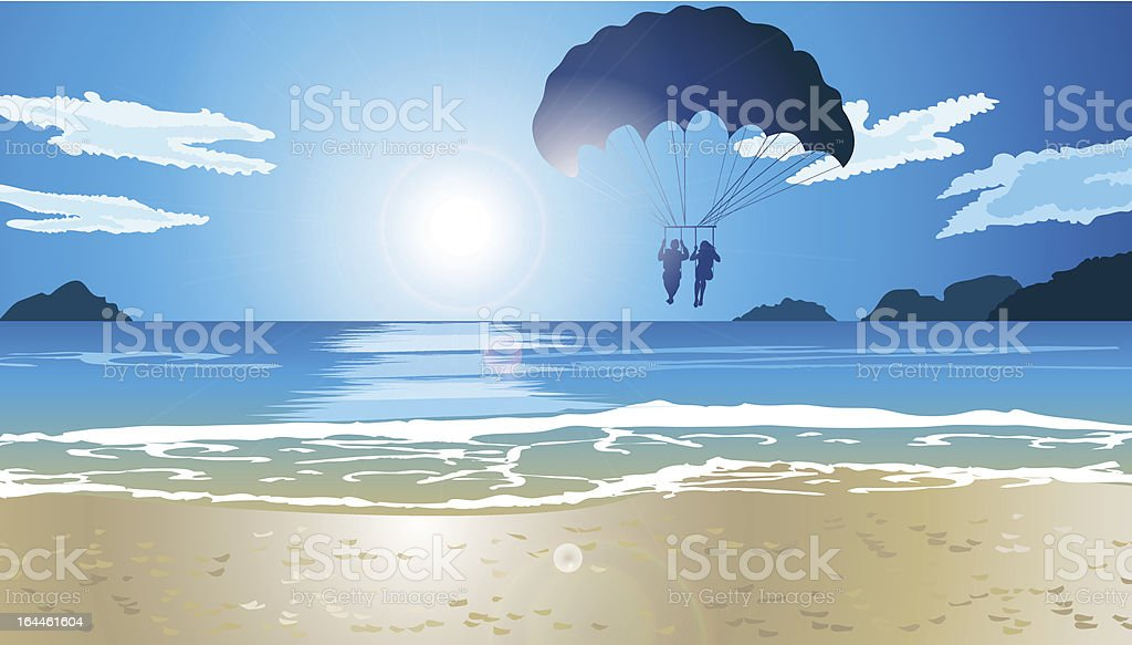 Man and woman are Parasailing royalty-free stock vector art