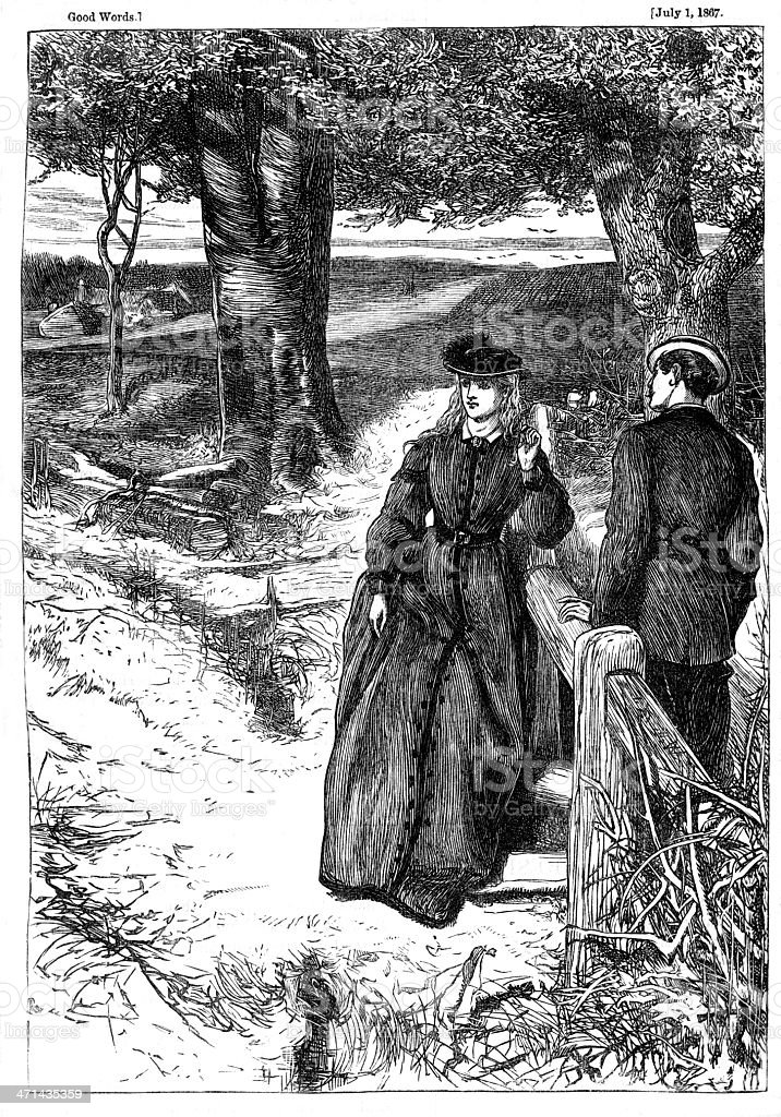 Man and woman at country stile from 1867 journal vector art illustration