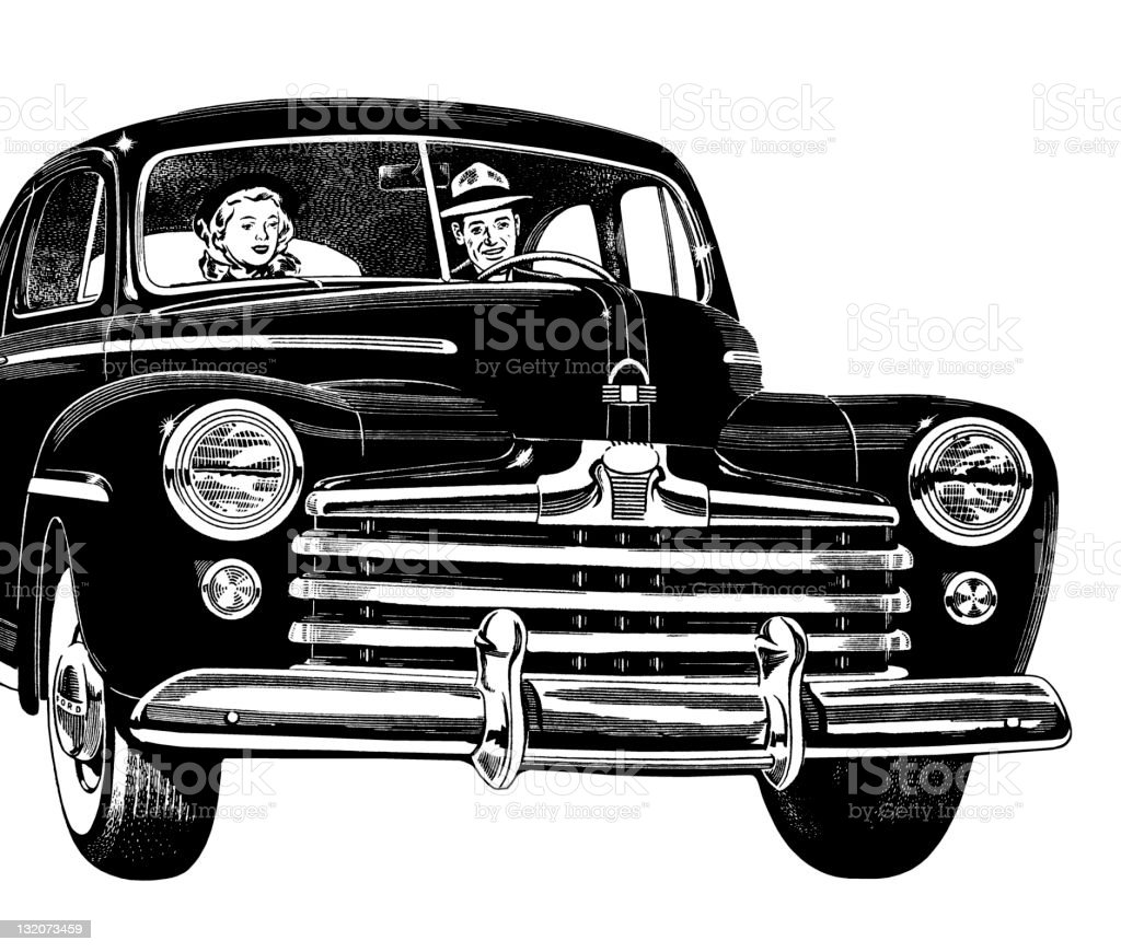 Man and Woman Driving in car royalty-free stock vector art